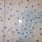 Blue White Floral Fabric Cotton Blend Textured Sewing Craft Fabric