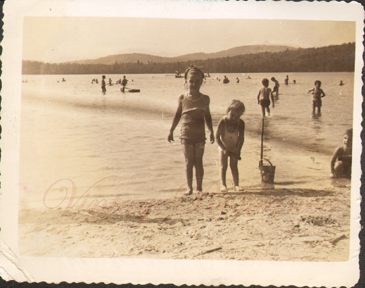 Children Swimsuits Water Sand Toys Day at Beach Vintage Photo 1942