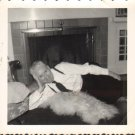 D01804 Old Man Strikes Seductive Pose on Bear Skin Rug Vintage Photo