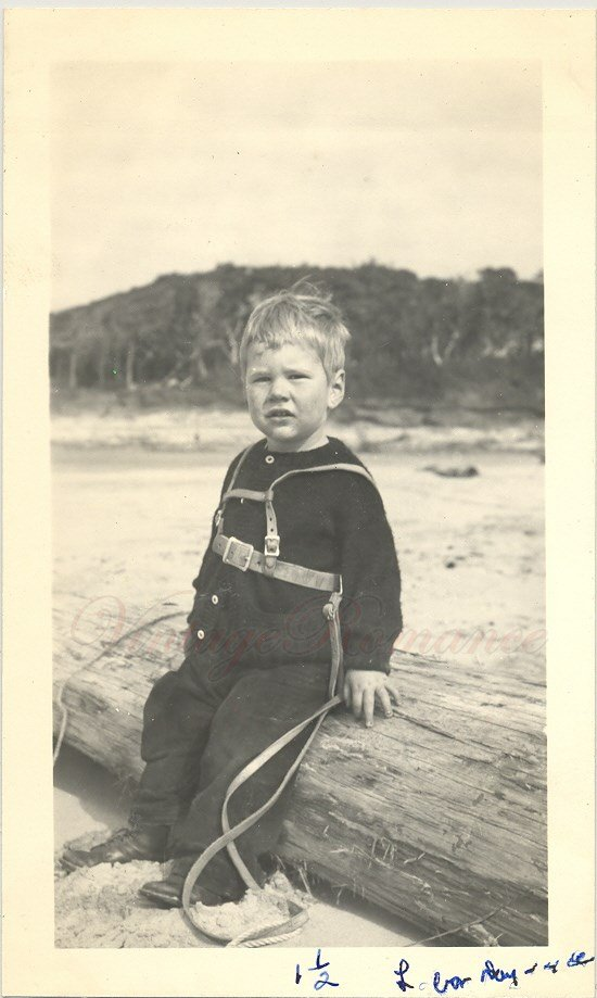 H06801 Hello Vintage Photo Little Boy Sitting on a Log