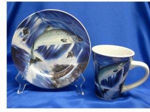 Leaping Salmon....Plate & Matching Mug/Cup