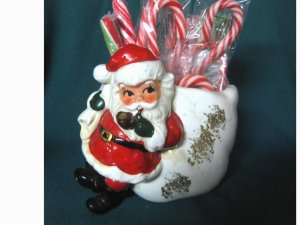 Vintage Norcrest Santa Smoking Pipe Candy Holder