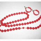 Vintage - Red Necklace with Clip/Screwback Earrings