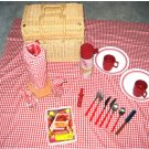 Large Wicker Picnic Basket with Plates, Glasses & Lots More