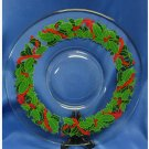 Vintage Glass Platter - Trimmed with Holly