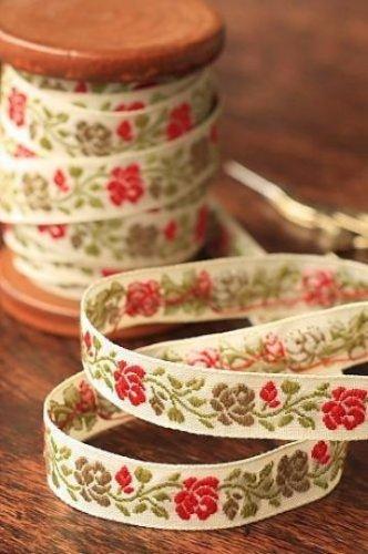 1.6cm x 5 Yards - kawaii Cotton Woven Jacquard Trim Ribbon - Flowers