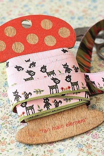 1.6cm x 5 Yards - kawaii Cotton Woven Jacquard Trim Ribbon - Pink Deer