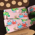 1.6cm x 5 Yards - kawaii Cotton Woven Jacquard Trim Ribbon - Couple Owl