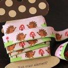 1.6cm x 5 Yards - kawaii Cotton Woven Jacquard Trim Ribbon - Pink Hedgehog