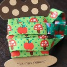 1.6cm x 5 Yards - kawaii Cotton Woven Jacquard Trim Ribbon - Red Apple and Mushroom