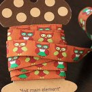 1.6cm x 5 Yards - kawaii Cotton Woven Jacquard Trim Ribbon - Owl