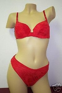 Bras Lingerie Red Ultra Suede Bra & Bikini Set Sz. 34-C Size 6 Bikini