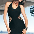 Halter Seamless Crochet Side Halter Mini Dress--One Size
