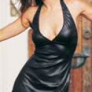 Black Wet Look Mini Halter Dress One Size