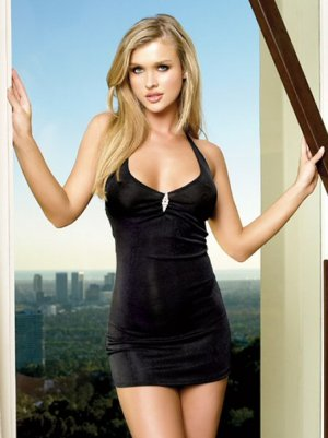 Halter Slinky Mini Dress with Rhinestone Brooch -One Size