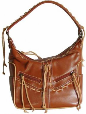 Shoulder Bags Handbags with Front Zippered Pockets & Contrasting Lacing