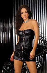Sexy Exotic Strapless Leather Mini Dress Hook & Eye M
