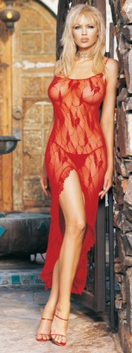 Lingerie Long Lace Dress And G-String Set with Slit - Plus Size