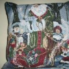 SMALL GREEN BACK PILLOW W/ CHRISTMAS  TAPESTRY FRONT
