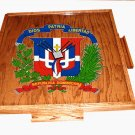 Dominica Republic Domino Table Top with the escudo (Dark)
