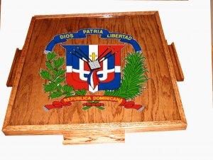 Dominica Republic Domino Table Top with the escudo (Dark)