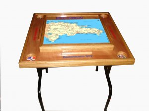Dominican Republic Domino table with the Map