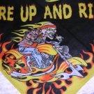 WILD COLOR FIRE UP AND RIDE BIKER SKELETON EASY RIDER BANDANA SCARF HANKERCHIEF