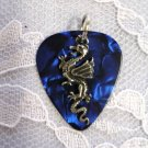 NEW DEEP BLUE GUITAR PICK DRAGON CHARM PENDANT NECKLACE