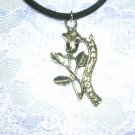 MOTORCYCLE HONEY STEM ROSE BANNER LADY RIDER PEWTER PENDANT NECKLACE