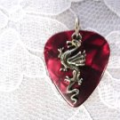 NEW BLOOD RED GUITAR PICK w CLASSIC DRAGON PEWTER CHARM PENDANT ADJ NECKLACE