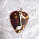 NEW BROWN GUITAR PICK MUSIC NOTE CHARM PENDANT NECKLACE