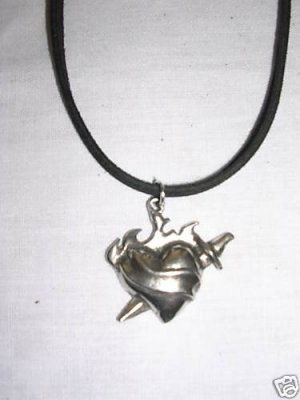 SILVER PEWTER FLAMING HEART w DAGGER TATTOO NECKLACE