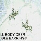 PEWTER FULL BODY BUCK DEER w ANTLERS DANGLING CHARM EARRINGS