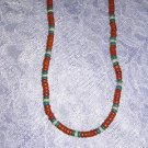 "TERRA COTTA TURQUOISE NAT WHITE COCO BEADS 18"" NECKLACE"