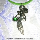"NEW FAIRY w FLOWER & LIME GREEN GEM PEWTER 20"" NECKLACE"