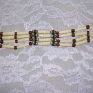 CLEARANCE SALE IVORY WHITE CARVED BEAD CHOKER NECKLACE & BROWN GLASS BEADS