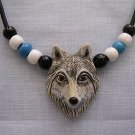 WILDLIFE HAND PAINTED WOLF HEAD CERAMIC PENDANT w ACCENT BEADS ADJ CORD NECKLACE