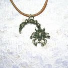 WICKED CURLED SCORPION PEWTER PENDANT NECKLACE SCORPIONS JEWELRY