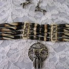 MULTI TEA BROWN HAIRPIPE BONE BEAD CHOKER NECKLACE w PEWTER HORSE DREAM CATCHER