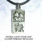 DOUBLE LUCKY RECTANGLE SHAPE 4 LEAF CLOVER INVERTED USA PEWTER PENDANT ADJ NECKLACE