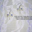 SILVER TONE DRAGONFLY w BLUE & GREEN EARRINGS JEWELRY