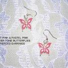 NEW HOT PINK BUTTERFLY SILVER TONE BUTTERFLIES EARRINGS