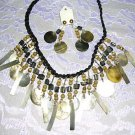 HAND MADE TROPICAL ELEGANT MOP SHELL & CATS EYE BEADED NECKLACE & EARRINGS SET