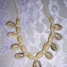 CUT COWRY SHELLS ADJ WOVEN TAN NECKLACE w WOODEN BEADS
