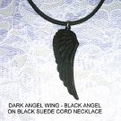 WILD BLACK FEATHERED DARK ANGEL WING PENDANT JEWELRY ADJ CORD NECKLACE