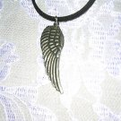 BIRD WING FEATHER PEWTER ANGEL WING PEWTER PENDANT ADJ NECKLACE