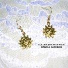 NEW GOLDEN SUN CELESTIAL / SUNFLOWER FACE NATURE DANGLING EARRINGS