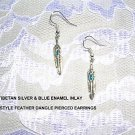 NEW FEATHERS w BLUE INLAY TIBET SILVER FEATHER EARRINGS