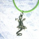 "TROPICAL EXOTIC IGUANA LIZARD CAST PEWTER PENDANT 20"" GREEN NECKLACE"