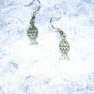 CUTE FISH DANGLING PEWTER EARRINGS FRENCH HOOK JEWELRY